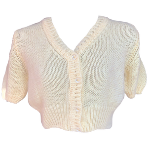 Fifi chachnil angora short sleeve cardigan (Cream)