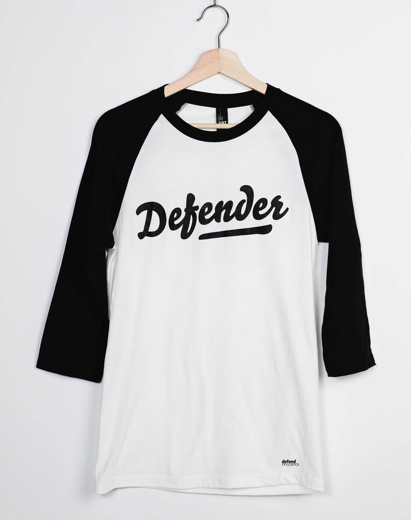 Defender Black and White Baseball Raglan Unisex Tee