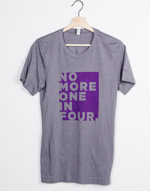 TYF No More One In Four Unisex Block Letter Grey Tee - XS, 2XL, 3XL
