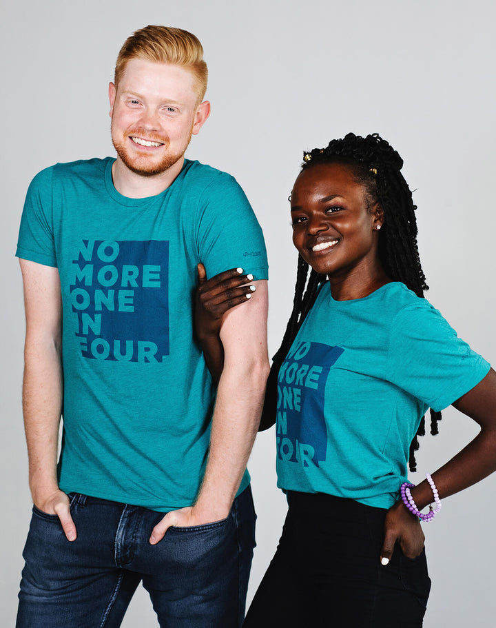 TYF No More One In Four Unisex Block Letter Teal Tee - XS, 2XL and 3XL