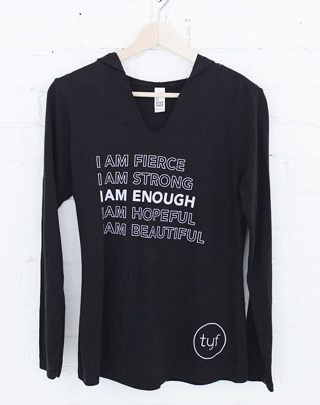 I Am Enough Long Sleeve Hooded Tee