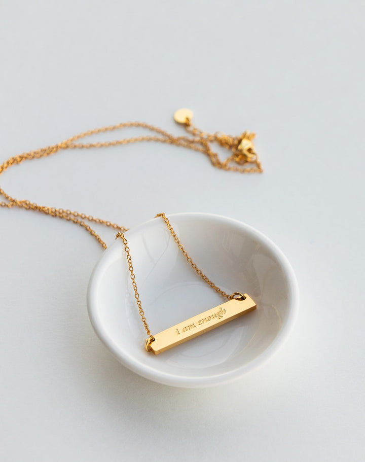 TYF I Am Enough Gold Bar Necklace