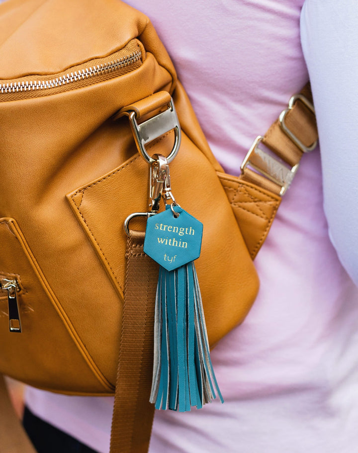 "TYF Teal ""Strength Within"" Tassel Keychain"