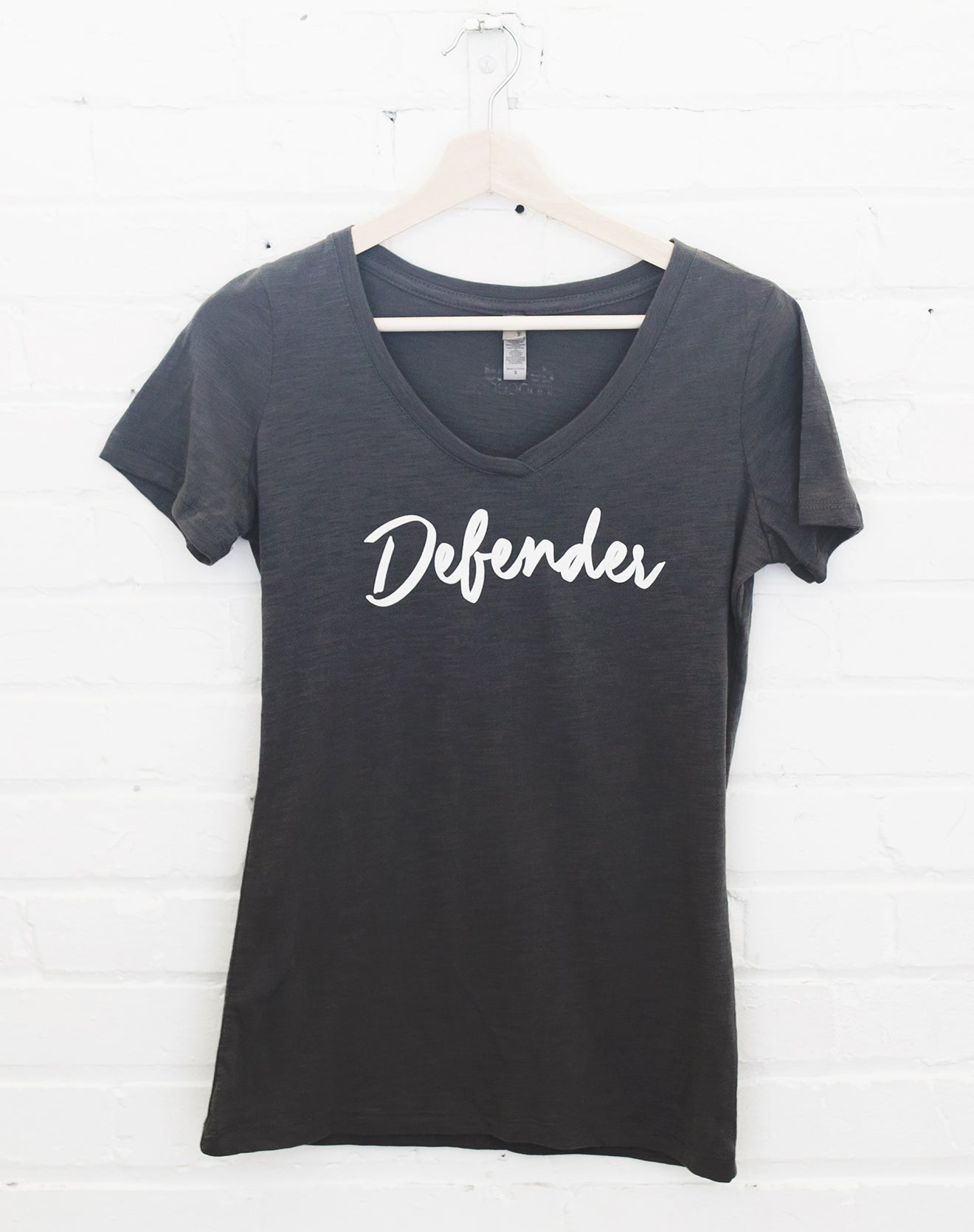 Women's Dark Gray V-Neck Defender Tee