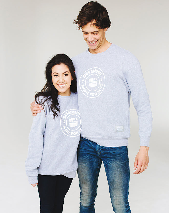 Fight for Zero—Heather Grey Unisex Defender Sweatshirt