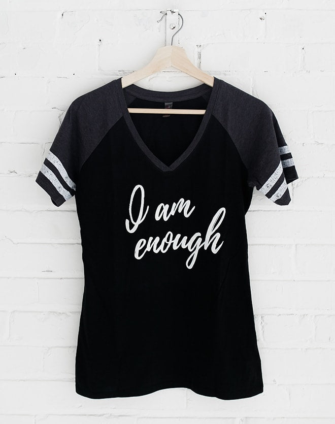 TYF I Am Enough V-Neck Baseball Tee