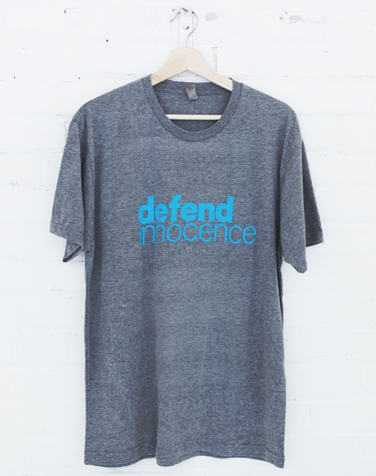 Men's Gray Defend Innocence Tee