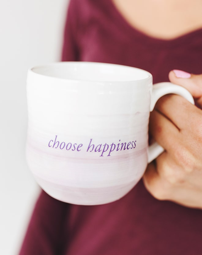 """Choose Happiness"" Watercolor Dipped Mug"