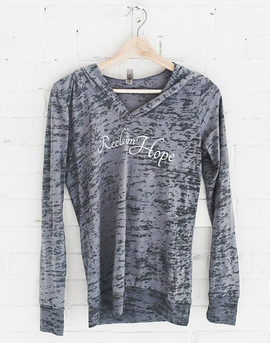Women's Grey Reclaim Hope Long Sleeve Shirt with Hood