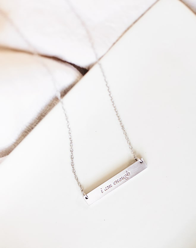 """I Am Enough"" Silver Bar Necklace"
