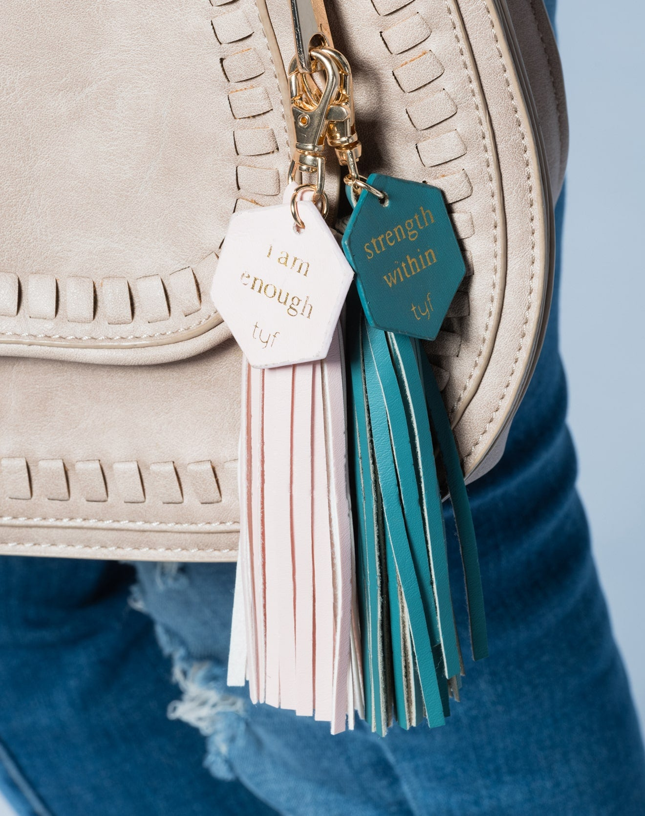"TYF ""I Am Enough"" Pink Tassel Keychain"
