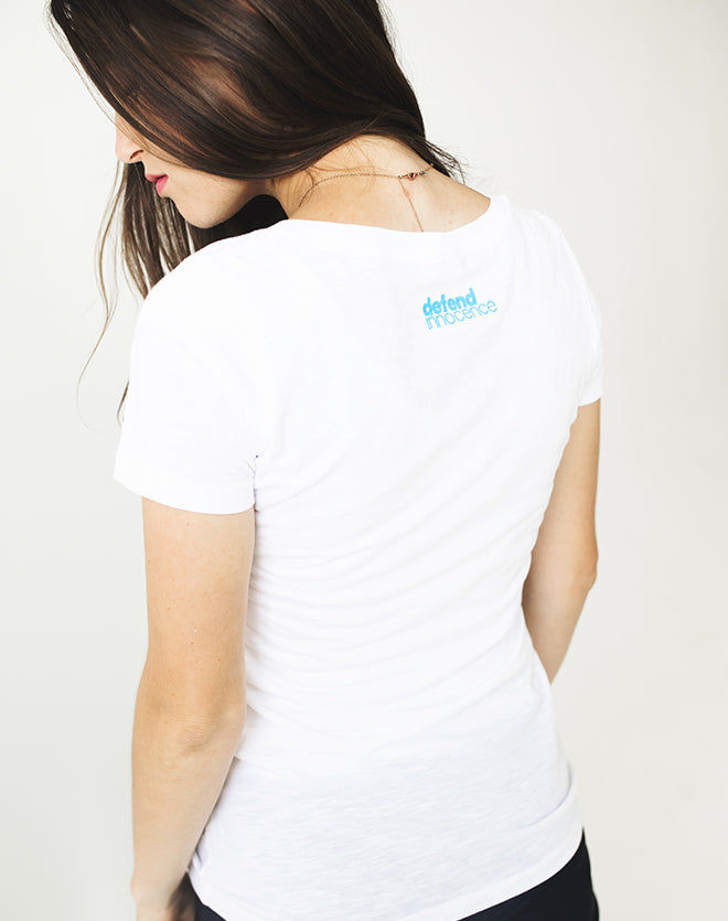 Women's White Defender V-Neck Tee