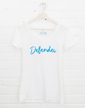 Defend Innocence Defender White V-Neck Tee