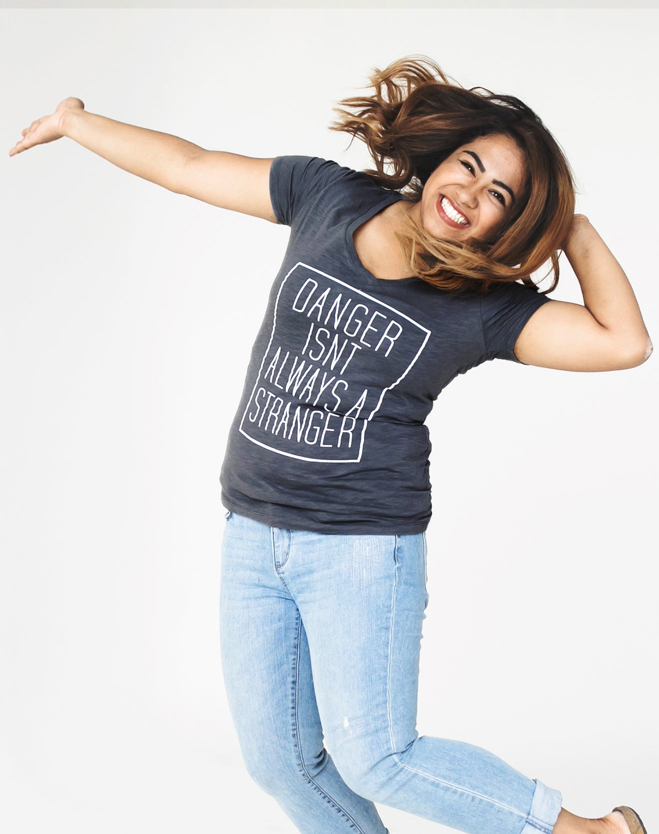 Women's Gray V-Neck Tee - Danger Isn't Always a Stranger