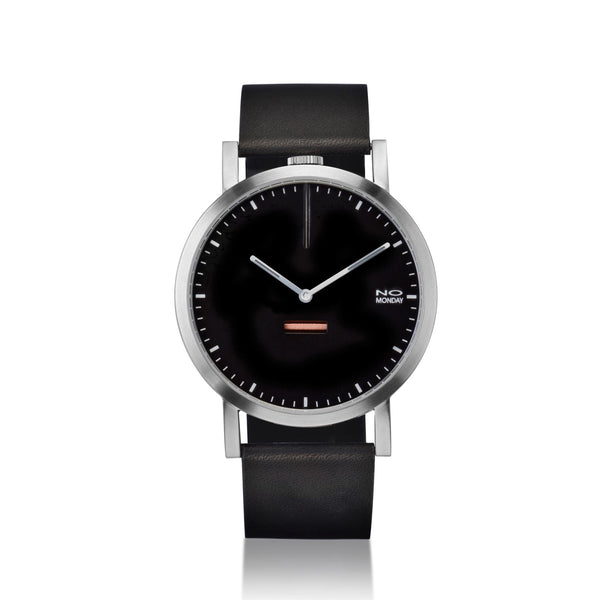 460 -  silver brush case / black dial / black band