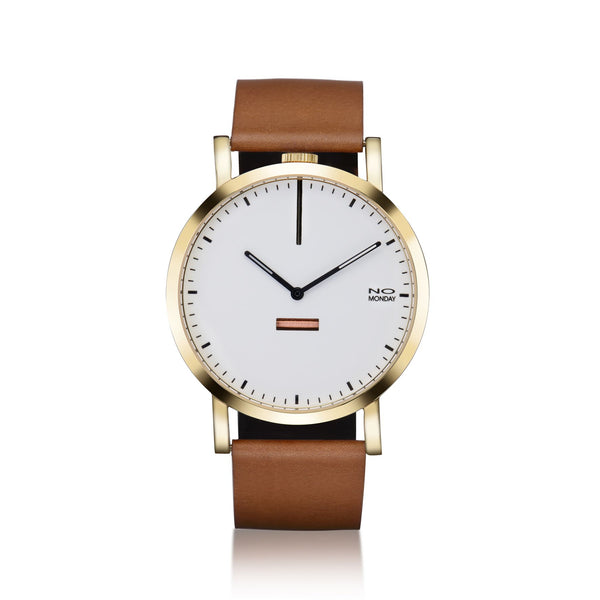 460 - gold mirror / white dial / brown band