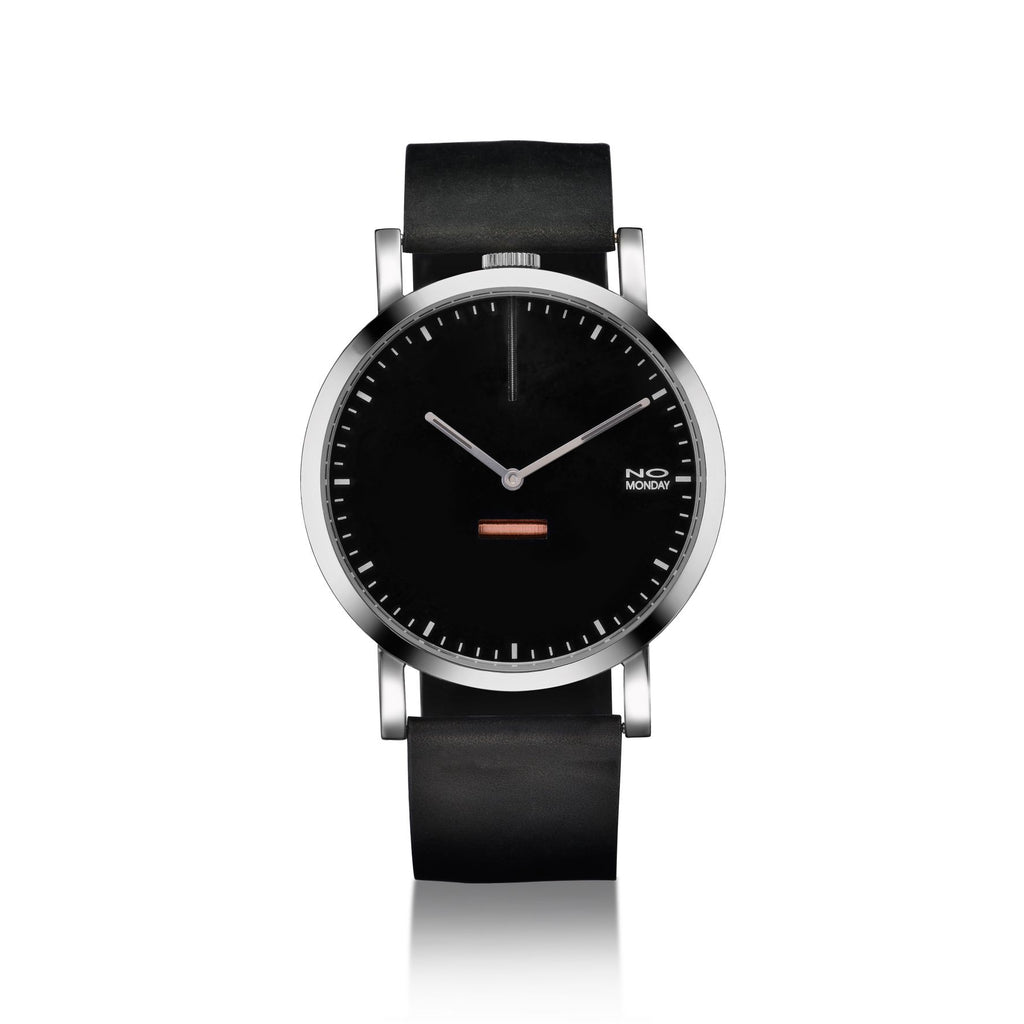 460 - silver mirror case / black dial