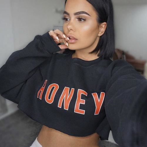 Casual Honey Letter Print Pullover Crop Top Long Sleeve Sweater | 81Supreme S Women Coats & Jackets