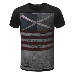 Casual Short Sleeve Vintage Style American Flag T-Shirt | 81Supreme Black / S Men Shirt