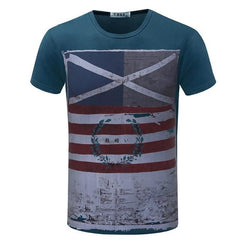 Casual Short Sleeve Vintage Style American Flag T-Shirt | 81Supreme Blue / S Men Shirt