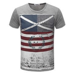 Casual Short Sleeve Vintage Style American Flag T-Shirt | 81Supreme Gray / S Men Shirt