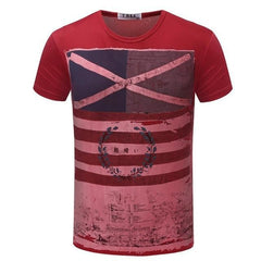 Casual Short Sleeve Vintage Style American Flag T-Shirt | 81Supreme Red / S Men Shirt