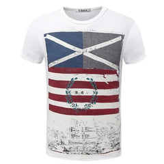 Casual Short Sleeve Vintage Style American Flag T-Shirt | 81Supreme White / S Men Shirt