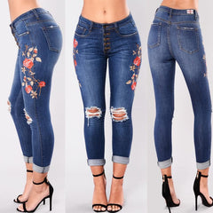 Casual Women Holed Embroidered Floral Print Premiun Pencil Denimjeans | 81 Supreme Pants