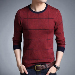 Men O-Neck Stripe Long Sleeve Cotton Pullover Sweater | 81Supreme Red / M