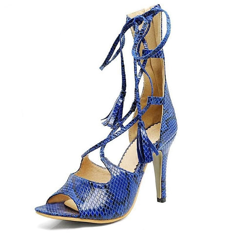 Women High End Designer Python Print Peep Toe Heels | 81Supreme Blue / 11 Shoes