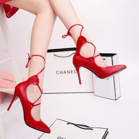Women Premium Quality Pointed Toe Strap Up Classy High Heel Pumps | 81Supreme Red / 4 Shoes
