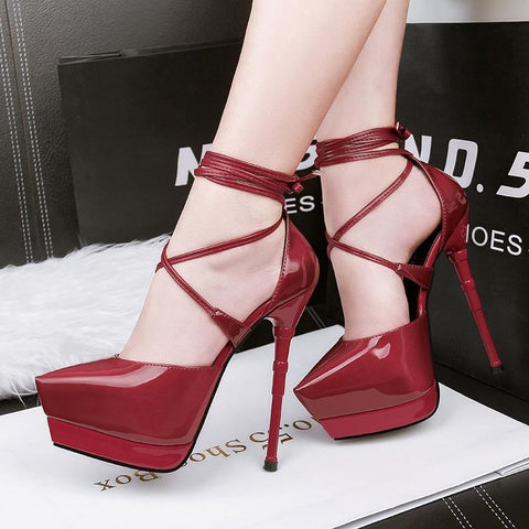 Women Sexy Thin Air Pointed Toe Tie Up High Heel Pumps | 81Supreme Shoes