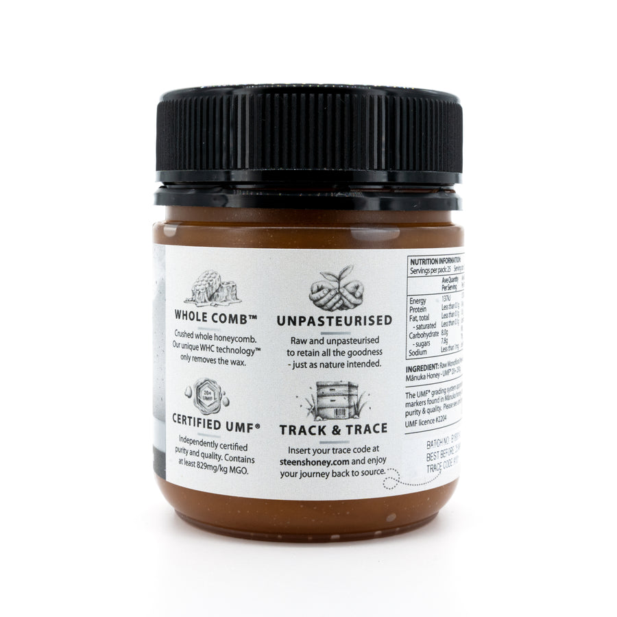 Steens UMF 20+ (MGO 829) Raw Unpasteurized NZ Manuka Honey 250 Gram