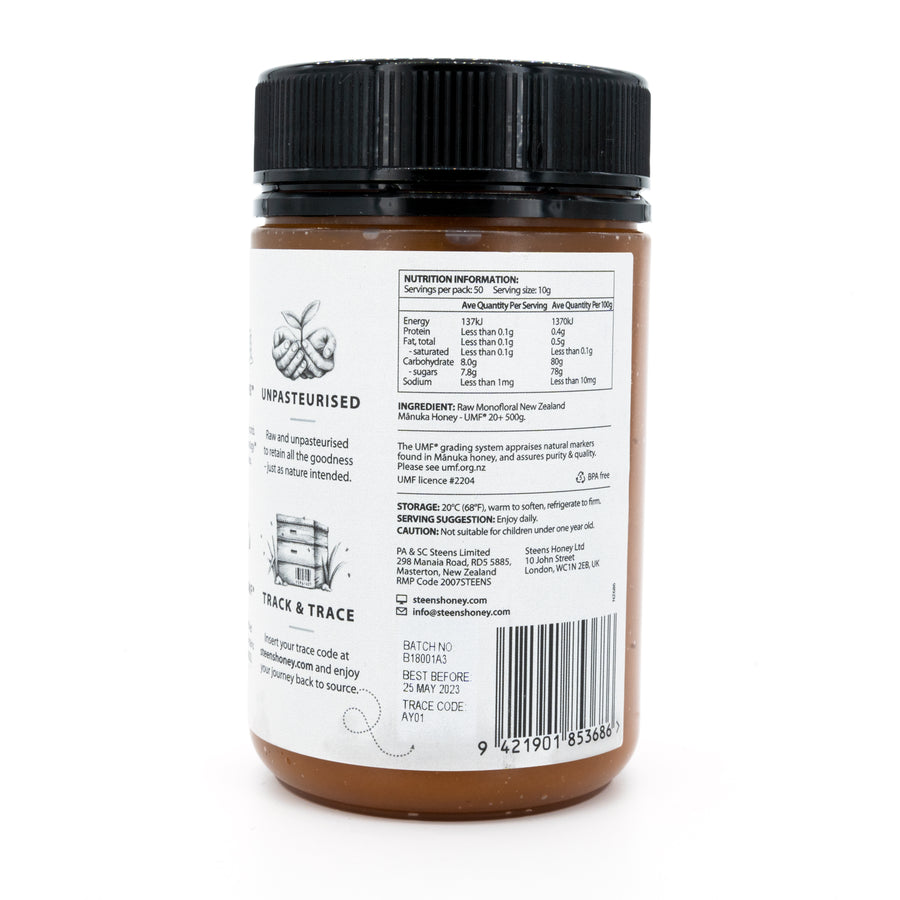 Steens UMF 20+ (MGO 829) Raw Unpasteurized NZ Manuka Honey 500 Gram - Steens Honey