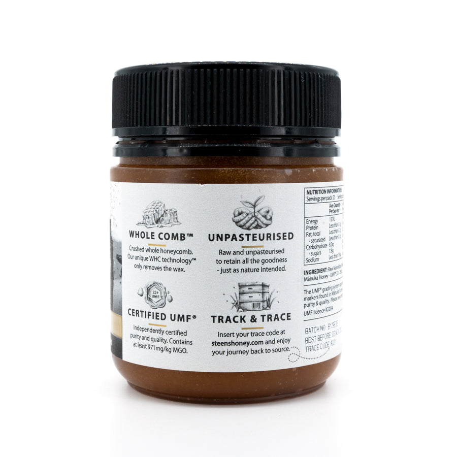 Steens UMF 22+ (MGO 971) Raw Unpasteurized NZ Manuka Honey 250 Gram - Steens Honey