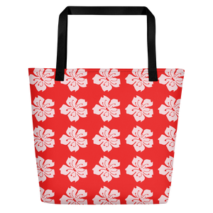 ABlyth Beach Bag, Sakura on Red