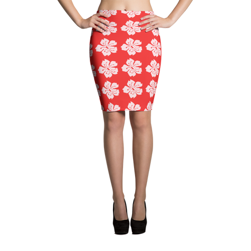 ABlyth Pencil Skirt, Sakura on Red