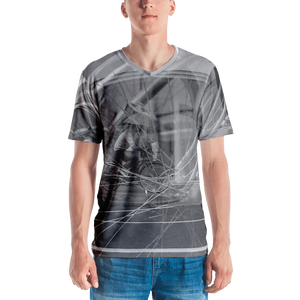 ABlyth Men's all-over v-neck print T-shirt: Art Series, Poem of a Cacophonous City