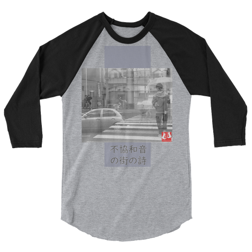 ABlyth 3/4 sleeve raglan shirt, Art Series, Poem of a Cacophonous City: Go
