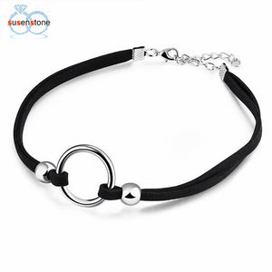SUSENSTONE Choker Necklace Stretch Velvet Classic Gothic Tattoo Flannel Choker