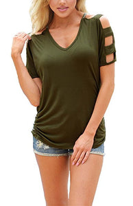 Women Sexy V Neck T Shirts Loose Cut Out Shoulder Tops