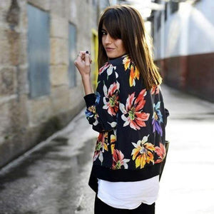 Trendy Retro Women Flower Print Casual Baseball Sweatshirt Zipper Thin Bomber Jacket Long Sleeves Coat Outwear -MX8