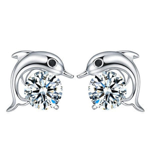 Lovely Crystal Eye Dolphin CZ Stud Earrings Women Sterling Silver Jewelry