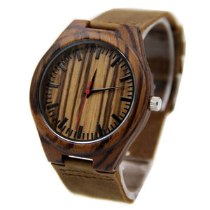 Fashionable Leather & Bamboo Analogue Watch