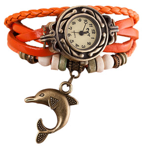 Quartz Weave Around Leather Dolphin Bracelet Lady Woman Wrist Watch 8 Variants