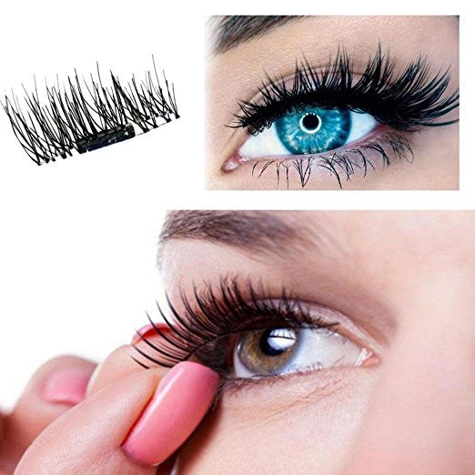 2 Pair of 3D Reusable False Magnet Eyelashes Magnetic Fake Eye Lashes Natural Handmade Extension Fake Eye Lashes No False Eyelashes Glue