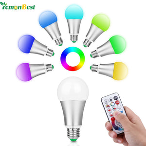 10W RGB+W E27 LED Bulb Stage Lamp 220V with Remote Control (AC 85-265V)