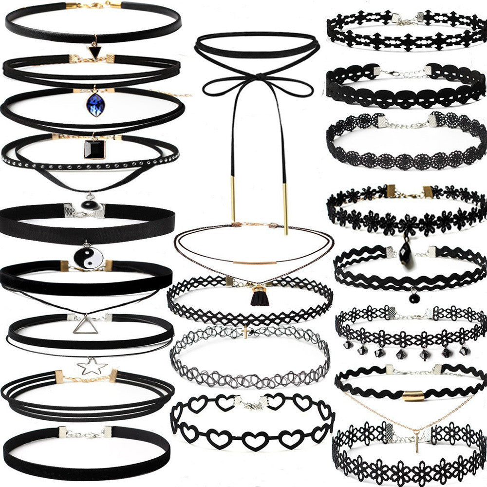 22 Piece Choker Necklace Set Stretch Velvet Classic Gothic Tattoo Lace Choker
