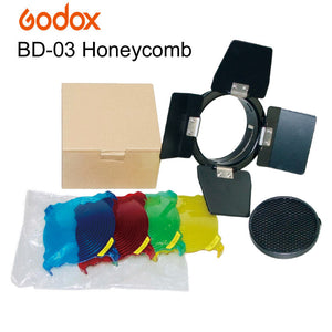 Godox BD-03 Barn Door With Honeycomb Grid and 4 Color Gels Set Kits for Photo Studio Flash K-180A 300SDI 250DI