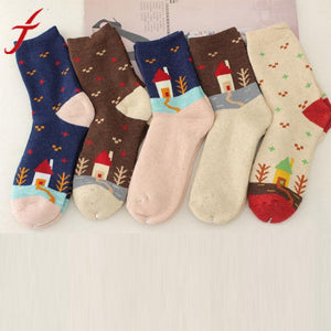 1 pair, 5 Colors Womens Winter Socks with House Tree Print